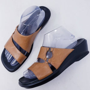 Clarks Brown Leather Double Strap Slide Sandal 9.5